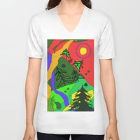 woods V-neck T-shirts featuring woods by sladja