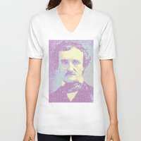 edgar allan poe V-neck T-shirts featuring Edgar Allan Poe. by Robotic Ewe