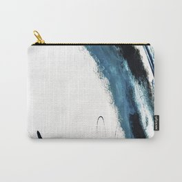 Reykjavik: a pretty and minimal mixed media piece in black, white, and blue Carry-All Pouch