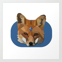 Geo Gem Fox Art Print