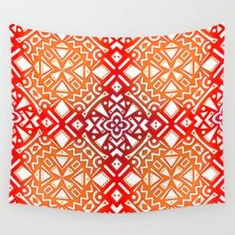 Tribal Tiles II (Red, Orange, Brown) Geometric Wall Tapestry