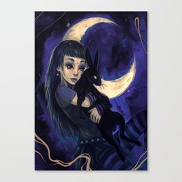 Hare in the moon Canvas Print