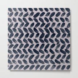 Lake Davinde -  Dark Blue Brush Strokes on lilac Metal Print