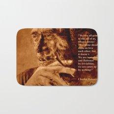 Charles Bukowski - quote - sepia Bath Mat