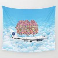 plane Wall Tapestries featuring Happy Plane by WyattDesign
