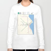 milwaukee Long Sleeve T-shirts featuring Milwaukee Transit System Map by Carticulate Maps