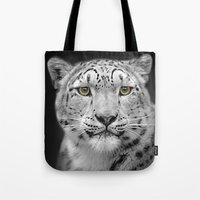 snow leopard Tote Bags featuring Snow Leopard by Linsey Williams Wall Art, Clothing, And