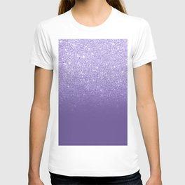 Modern ultra violet faux glitter ombre purple color block T-shirt