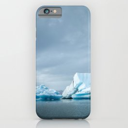 Landscape with blue icebergs in the Jökulsárlón ice lake | Travel photography Iceland iPhone Case