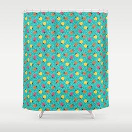 Ladybugs - Sapphire Blue Ornamental Foliage Shower Curtain