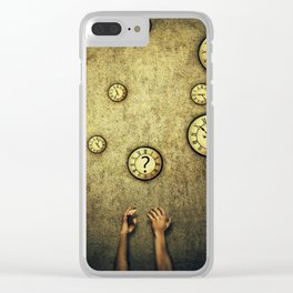 clocks juggling time Clear iPhone Case