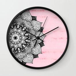 Artistic Boho Hand Drawn Mandala on Pink Tie Dye Wall Clock