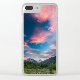 Amazing sunset clouds over mountain Mangart Clear iPhone Case