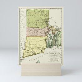 1797 Colonial Era Map of Rhode Island and Narragansett Bay Mini Art Print