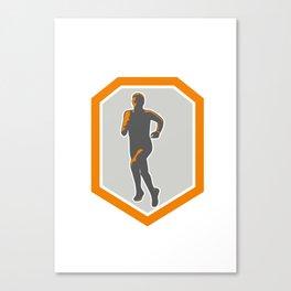 Marathon Runner Running Front Shield Retro Canvas Print