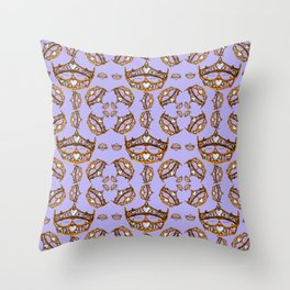 Queen of Hearts gold crowns tiaras repeat pattern on periwinkle background by Kristie Hubler Throw Pillow