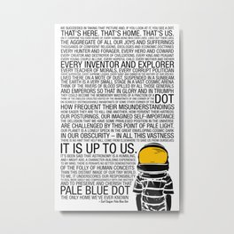 Pale Blue Dot: Carl Sagan Metal Print