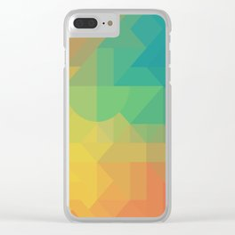Geometric Pattern // Intricate Detailed Shapes // Gradient Colors (Orange, Yellow, Teal, Green, Red) Clear iPhone Case