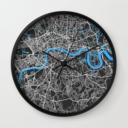 London Map | England | Black & Blue | More Colors, Review My Collections Wall Clock