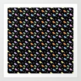 Pastel Shrike-thrushes on Black Art Print