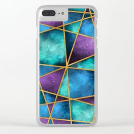 Space Abstract Geometric Clear iPhone Case