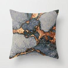 GREY & GOLD GEMSTONE Throw Pillow