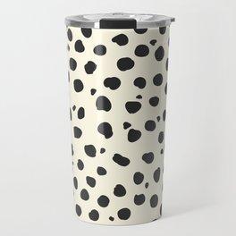 Vanilla Bean - Black Polka Dot Pattern Travel Mug