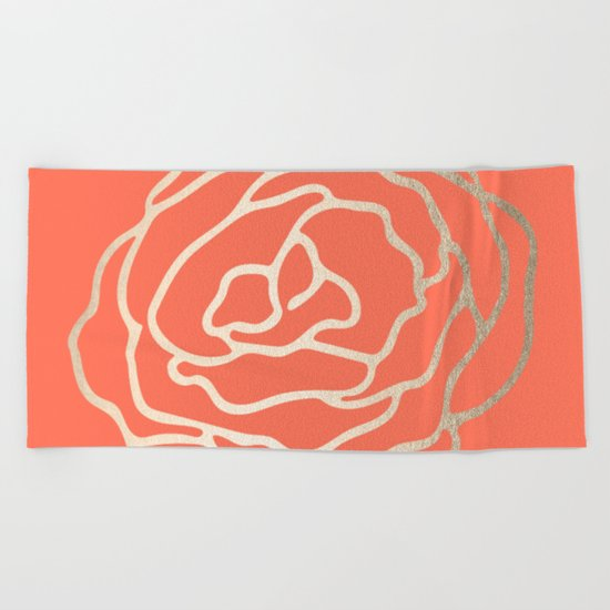 Rose White Gold Sands on Deep Coral Beach Towel
