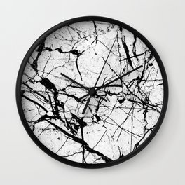 Dusty White Marble - Textured Black And White Wall Clock