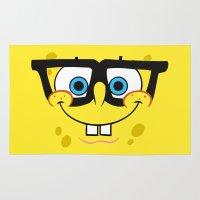spongebob Area & Throw Rugs featuring Spongebob Nerd Face by Cute Cute Cute