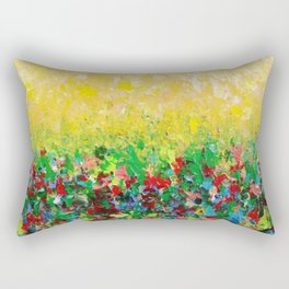 NATURE'S LIVING ROOM - Gorgeous Bright Bold Nature Wildflower Field Landscape Abstract Art New 2012 Rectangular Pillow
