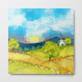 Watercolor Farm Landscape 1 Metal Print
