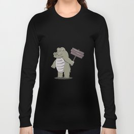 hippopotamus with happy hour sign Long Sleeve T-shirt