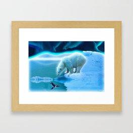 The Encounter - A Polar Bear & Penguin Fantasy Framed Art Print