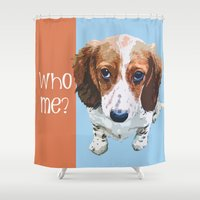 font Shower Curtains featuring Who Me - White Font by Canis Picta