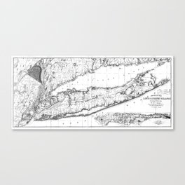 Vintage Map of Long Island New York (1842) BW Canvas Print