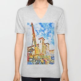 L'Aquila: people, cranes and bell towers Unisex V-Neck