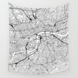 London White Map Wall Tapestry