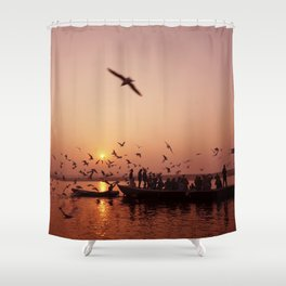 Chilling on a boat by the Ganges Shower Curtain