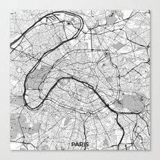 Paris Map Gray Canvas Print