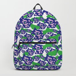 Blue Purple and Green Rough Abstract Dark Eye Backpack