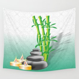 Meditation stones, bamboo and candles Wall Tapestry