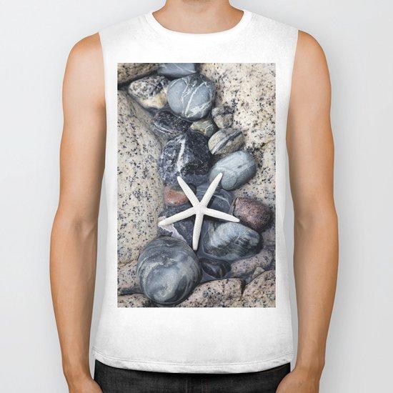 Starfish and pebble on beach Biker Tank