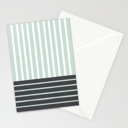 Mint Charcoal Stripes Stationery Cards