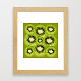 TROPICAL GREEN KIWI SLICED FRUIT MODERN ART Framed Art Print