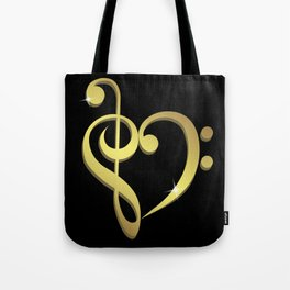 Treble clef, bass clef music heart love Tote Bag