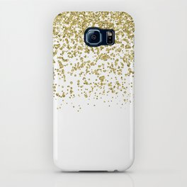 Sparkling gold glitter confetti on simple white background - Pattern iPhone Case