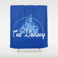 library Shower Curtains featuring The Library  by bookwormboutique