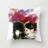 no face Throw Pillows featuring Face by Marian - Claudiu Bortan
