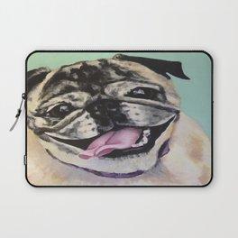 Portrait of Pug on Teal Laptop Sleeve
